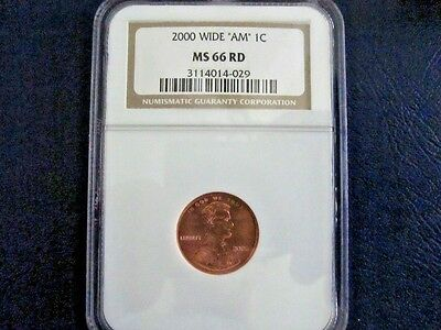 2000 Wide Am Uncirculated Lincoln Memorial Cent Ngc Ms66Rd