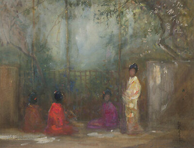 M. I. Kees SWA - Signed 20th Century Gouache, Oriental Ladies in a Garden