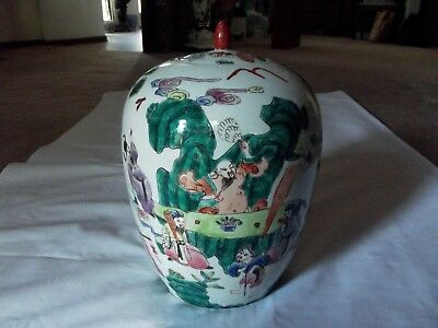 "12"" Ginger Jar lid Vase Famille Verte Rose Chinese Export Porcelain Ovoid Figure"