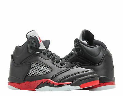 f920d76675e NIKE JORDAN 5 Retro (PS) Satin Black/Red Little Kids Basketball Shoe  440889-006
