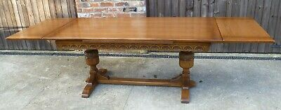 Exceptionally clean 9 ft Solid Oak Dining Table, craftsman made, seats up to 12