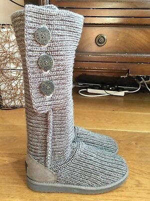 3de604ce8bd LADIES GREY KNITTED Cardy Ugg Boots Size 7.5