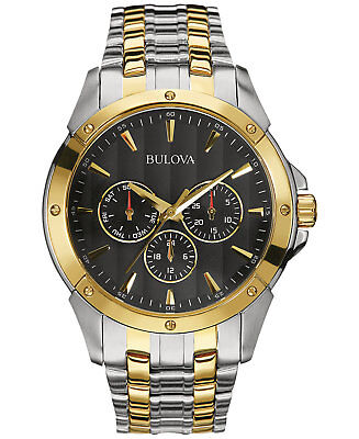 *BRAND NEW* Bulova Men's Classic Black Dial Gold and Silver Tone Watch 98C120
