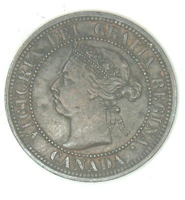 1890 Canadian Large Penny Queen Victoria Pretty Coin Looks  Good