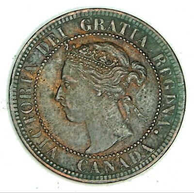 1901 Canadian Large Penny Queen Victoria Pretty Coin Looks  Good