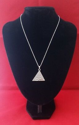 PYRAMID WITH EYE OF HORUS Pendant Hung on a 925 Sterling Silver Necklace Chain