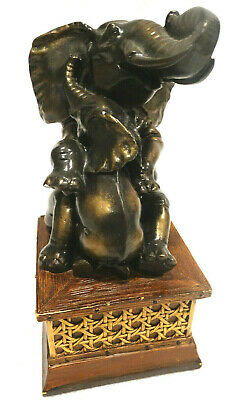 """Vintage Resin Bronze Look 8.5"""" Tall Elephant & Baby Book End"""