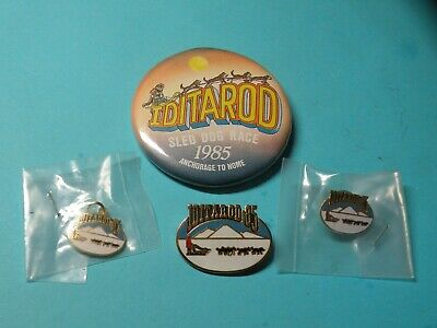 Vintage 1985 Iditarod Dog Sled Race Alaska Pin, Tie Tac, Charm and Button Set