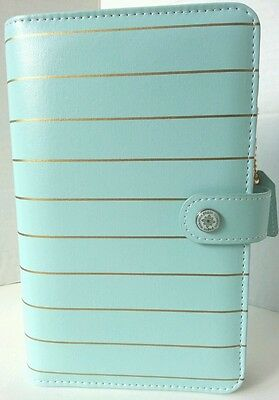 Websters Pages Color Crush Mint Gold Striped Personal Planner Kit 6 Ring Binder