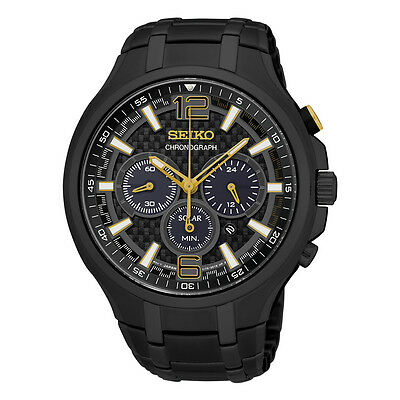 *BRAND NEW* Seiko Men's Recraft Chronograph Black Ion Plaeted  Watch SSC451