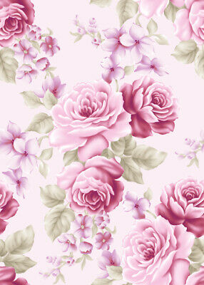 Dollhouse Miniature Shabby Chic Wallpaper Pink Roses Floral Flowers 1:12