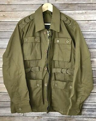 c441d6e83851 Jordan Craig D-LUX Army Green Military Cargo Button Zip Jacket Coat Sz L