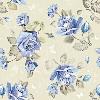 Dollhouse Miniature Shabby Chic Wallpaper Tan w/ Blue Roses Floral Flowers 1:12