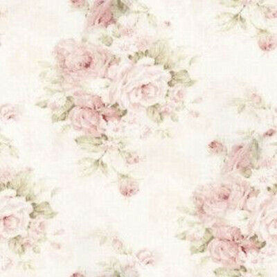 Dollhouse Miniature Shabby Chic Wallpaper Tan w Pink Roses Floral Flowers 1:12