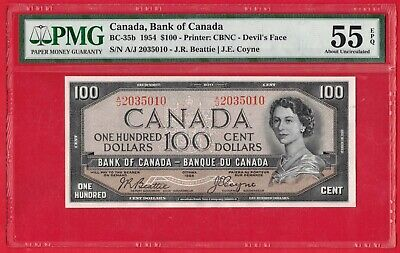 1954 $100 Bank of Canada Note BC-35b Beattie-Coyne A/J Prefix - PMG AU-55 EPQ