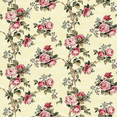 Dollhouse Miniature Shabby Chic Wallpaper Yellow Pink Roses Floral Flowers 1:12