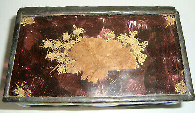 Vintage Stained Glass Dried Flowers Leaded Copper HAND MADE Trinket Jewelry Box