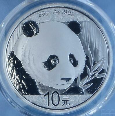 2018 PCGS MS70 Silver China 10Y Coin, 30g .999 Fine Silver 10 Yuan, Red Label