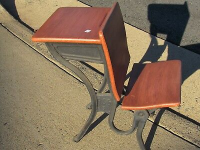 OFFER - Antique Child School Desk with Folding Seat - Will Ship KDF Refinished