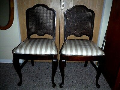 "2 Vintage Sikes CANE BACK Chairs,Labeled ""Sikes Chair Company, Buffalo New York"""