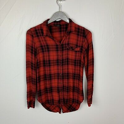 12732575 LUCKY BRAND WOMENS Button Down Split Back Flannel Plaid Shirt Red ...