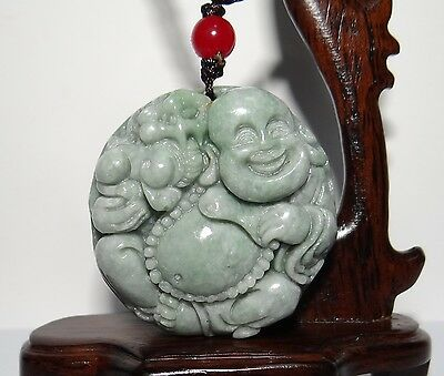 "1.8"" China Certified Grade A Nature Hisui Jadeite Jade Flower Buddha Pendants"