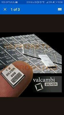 1 Gram 999 Pure Solid Fine Silver Bullion Valcambi Suisse Bar Investment
