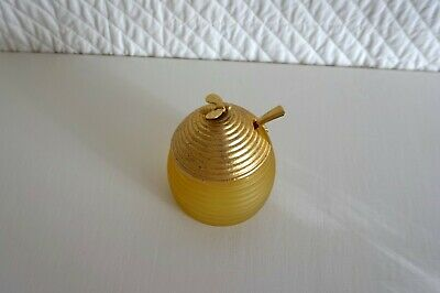 Vintage Avon Frosted Glass Beehive Honey Pot Jar with Metal Lid Spoon & Bee
