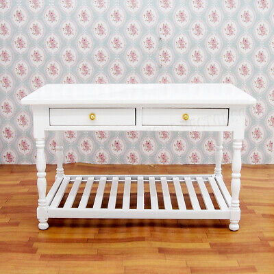 1/12 Wooden White Table Desk Miniature Furniture Working Drawers Dollhouse Decor