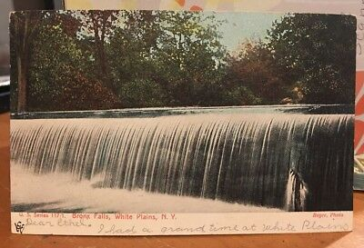 Antique Postcard Bronx Falls, White Plains New York Post Card Postmarked 1906