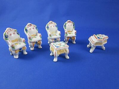 Vintage Miniature Doll House Furniture Chairs, Footstool, Piano Porcelain