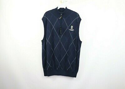 New St Andrews of Scotland Mens XL Half Zip Argyle Golfing Sweater Vest Blue