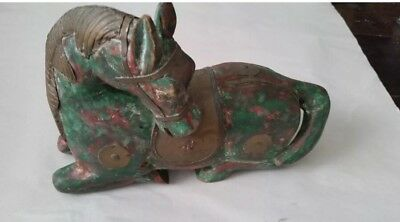 Antique Chinese Asian Gild Brass Cooper Wood Carved Horse Statue