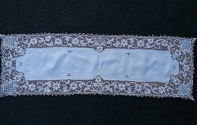 "Antique embroidered Needle Lace Table Runner 16 x 48"" Deco Edwardian Victorian"