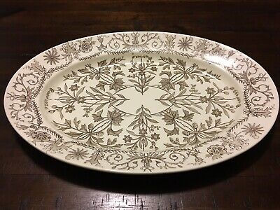 """Vintage Rare And Htf Antique T&R Boote England Brown 18"""" Platter Lahore Pattern"""