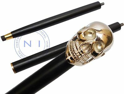 Antique Brass Skull Top Handmade Vintage Walking Cane High Quality Walking Stick