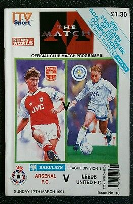 Arsenal vs Leeds United 1990/1991 Division 1 Programme 90/91 Tony Adams