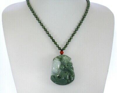 """2""""China Certify Grade A Nature Hisui Jadeite Jade Fortune Fish and Bat Necklace"""