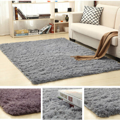 2019 Large Shaggy Floor Rug Plain Soft Sparkle Area Mat Thick Pile Glitter New A
