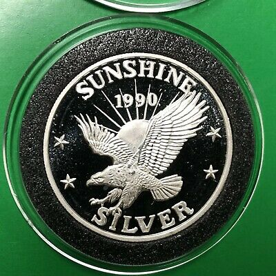 1990 Sunshine Mining Eagle 1/2 Troy Oz .999 Fine Silver Round Proof Coin Medal