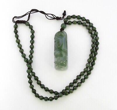 """1.9""""China Certified Grade A Nature Hisui Jadeite Jade Fortune Beetle Necklace"""