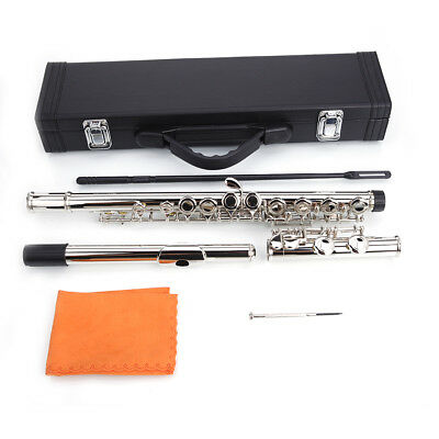 Hot Silver Color Plated 16 Closed Hole Concert Band Student C FLUTE w/Spilt E