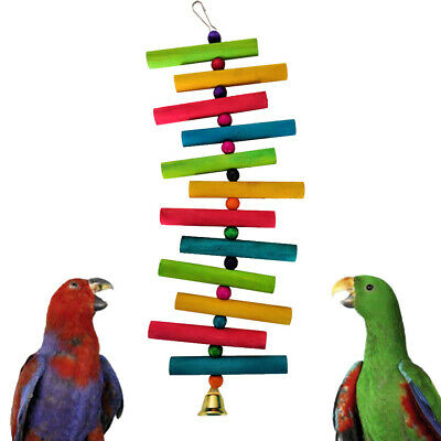 Colorful Wooden Parrot Climbing Ladder Bird Bite Chew Pet Toy Cage Hanging Decor