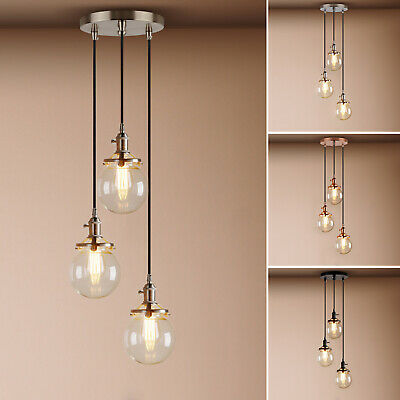 Cluster 1/3 Retro Industrial Globe Glass Ceiling Pendant Lighting Copper Fitting