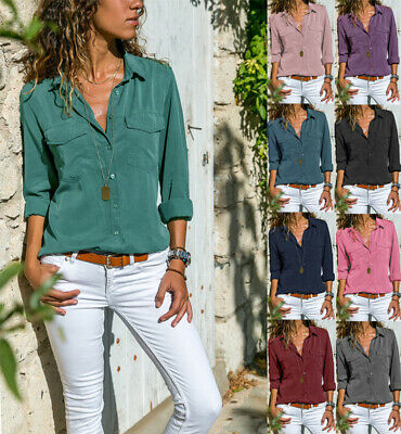 UK Womens Casual Blouse Loose Tops Ladies Button Office Work Plain Collar Shirts