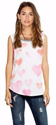 CHASER  ~ Burnout Fabric HEARTS Tank Top  NWT  size LARGE