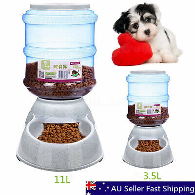 3.5L/11L Large Automatic Pet Dog Cat Food Feeder Bowl Bottle Dispenser Plastic