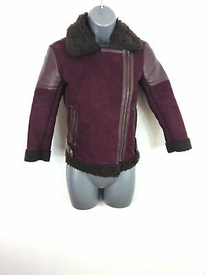 Girls Next Red Blue Zip Up Fur Lining Coat Jacket Faux Leather Kids Size 8 Years