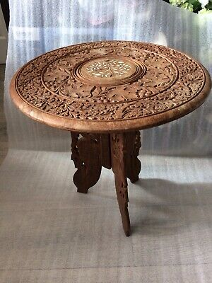 Hand Carved Indian Occasional Lamp Side Ornate Table