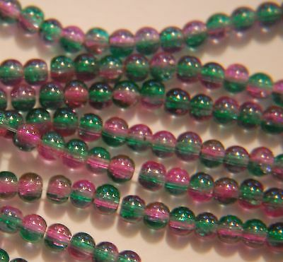BARGAIN ~ 1 strand two-tone CRACKLE GLASS Round Beads ~ 4mm ~ Green Pink ~ 38cm